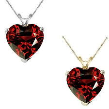 9mm Heart CZ Garnet Birthstone Gemstone Pendant Necklace 14K White Yellow Gold