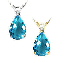 0.01 Carat TCW Diamond Pear Blue Topaz Gemstone Pendant 14K White Yellow Gold