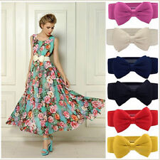 Chic Women's Bowknot Elastic Bow Wide Stretch Buckle Waistband Waist Belt New