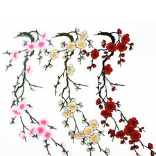 Embroidered Plum Blossom Flower Patch Iron/Sew on Applique Motif Craft JGUS