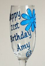 Personalised 21st Birthday Gift - Champagne Flute Wine Glass 18th 21st 30th 40th