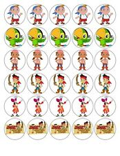 30 JAKE AND THE NEVERLAND PIRATES EDIBLE FONDANT/WAFER PAPER CUP CAKE TOPPERS
