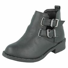 *SALE* Spot On H5035 Girls Black Synthetic Buckle Fastened Casual Ankle Boots