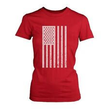 Distressed American Flag Independence Day Women's Shirt Red Tee for 4th of July