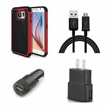 Case Bundle Deal for Samsung Galaxy S6 Case +USB Cable+Wall Charger+Car Charger