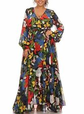 Plus Floral Full Sweep Chiffon Faux Wrap Maxi Dress Black Yellow Red Multi-Color