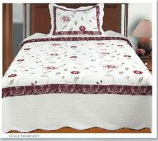 3 Pcs Embroidery 100% Cotton Fill Floral Quilt Set Bedding Bedspread coverlet
