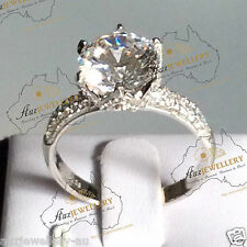 Sparkly 10mm Created Diamond Engagement Wedding Ring in Real 925 Sterling Silver