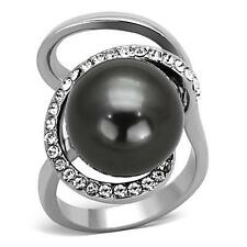 Synthetic Pearl High Polish Stainless Steel Ring