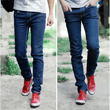 Fashion Mens Slim Skinny Casual Elastic Denim Pants Straight Leg Jeans Trousers