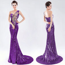 One Shoulder Sequins Formal Evening Gown Mermaid Long Prom Cocktail Party Dress