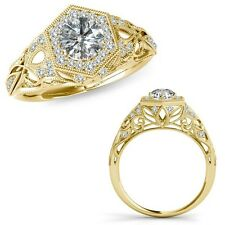 1 Carat G-H Diamond Classy Designer Halo Wedding Bridal Ring 14K Yellow Gold