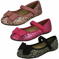 Girls Cutie Flat Glittery Party Shoes '376'