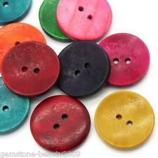 "GB Wholesale Wood Sewing Buttons 2 Holes Round Mixed 3cm(1 1/8"")Dia."
