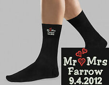 Socks Personalised Embroidered Wedding Day Heart Design Mens Groom Name Gift