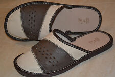Mens Sheep Leather Grey White Slippers Sandal Shoes Handmade In Poland Scuffs