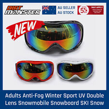Professional SKI SNOWBOARD GOGGLES DOUBLE COLOURED LENS BLACK/WHITE/RED Frame AU