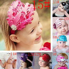 Cute Baby Kids Girl Infant Toddler Feather Headband Flower Hair Band Photo Props