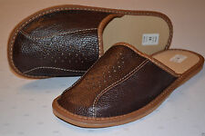 Mens Real Thick Leather Slippers Shoes Sandal Brown Handmade In Poland New Soft