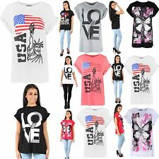 Women Ladies Printed Dimante Stud Butterfly USA Love Baggy Oversized T Shirt