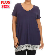 (Plus Size) Solid Short Sleeve V-neck Crochet Lace Trim Tunic Top B347 SD NY-X_M