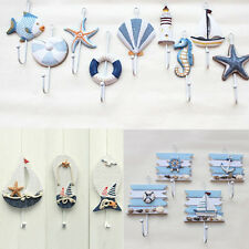 Wooden Chic Nautical Ocean Animal Shell Hook Hat Clothes Hanger Door Wall Decor