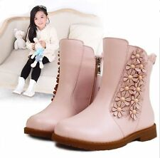 Cute Princess Flower Girls Child Kids Autumn Rubber Sole Leather Shoes Boots I09