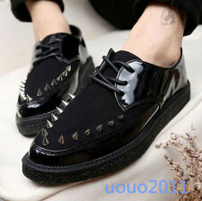 Stylish Loafers Men's Casual Spike Pointed Toe Oxford Creeper Brogue Punk Shoes