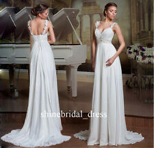 New White Ivory Lace Two Straps Empire Beach Wedding Dresses Chiffon Bridal Gown