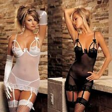 Sexy Sheer Lace Babydoll Intimate Lingerie Size 8 10 12 Elastic Nighty Chemise