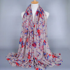 New Fashion Women Long Flower Print Voile Scarf Wrap Ladies Shawl Large Scarves