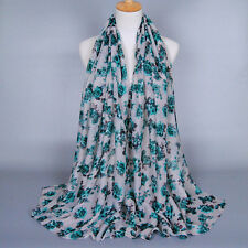 Fashion Women Lady Long Flower Voile Neck Scarf Scarves Wrap Soft Stole Shawl
