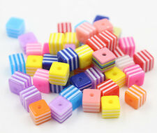 New 50/100Pcs Mix Colorful Cube Square Acrylic Loose Spacer Beads DIY 8mm 10mm