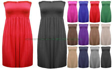 NEW LADIES STRAPLESS BOOBTUBE BANDEAU SHEERING GATHER DRESS WOMENS VEST TOP 8-14