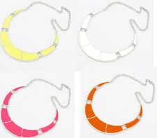 New Arrival Fashion Silver Plated Crescent Enamel Collar Bib Necklace