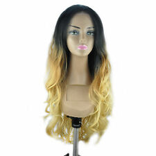 "14-24"" Front Lace Wigs Body Wave Synthetic Ombre Piano T Color Full 0M1B27 UK"