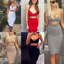 Women Sexy Cut Out Bandage Bodycon Stretch Cocktail Club Party Pencil Mini Dress