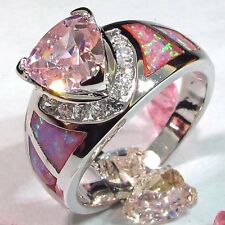Size 7 - stunning Lab Created Pink Topaz & Fire Opal Ring