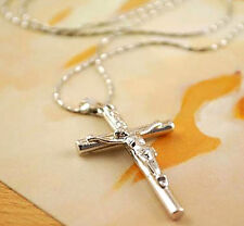 1 Pc Chain Silver Cross Pendant Jesus Necklace Crucifix Jewelry Christ