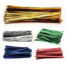 100 PCS Metallic Twist Ties for Cello Candy Cake Bags Party Decoration