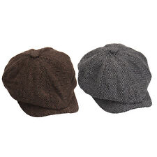 Mens Ladies Tweed Herringbone Gatsby Cap 8 Panel Flat Newsboy Baker Boy Hat