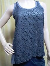 SIMPLY VERA WANG Gray Metallic Lace Sleeveless Hi Low Top Blouse Petites XS PXS