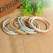 Men Braided PU Leather Stainless Steel Cuff Bangle Wristband Bracelet Hot Sale