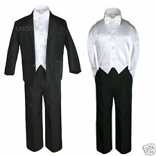 5pc White Vest Bow Tie Boy Baby Toddler Formal Wedding Black Suit Tuxedo S-20