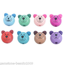 Wholesale HOT Mixed 3D Bear Head Making Pacifier Soother Wood Beads 2.8x2.5cm