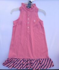 Ralph Lauren Toddler Sleeveless polo dress Pink stripe Pique mesh size 4 new