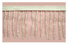 "Lily 2"" or 3"" White Beaded Fringe Trim with Glass Short Bugle Beads Dance by Yd"