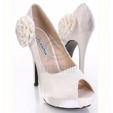Womens Formal Shoes Beige Satin Open Toe Pump Platform Sexy Party High Heels