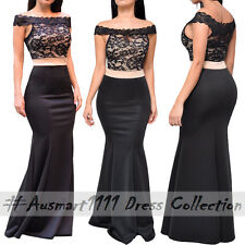 Formal Wedding Cocktail Party Black Lace Off Shoulder Dress Maxi Long Gown