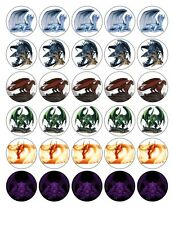 30x 4cm DRAGONS EDIBLE FONDANT/WAFER FAIRY CUP CAKE TOPPERS